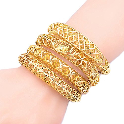 4pcs/lot 18K Gold Plated Dubai Bangles for Women Four Pcs African Bracelet Sets Ethiopian Jewelry