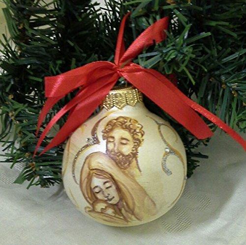 Immagini Di Natale Con Sacra Famiglia.Palla Natale In Ceramica Dipinta Con Sacra Famiglia Amazon