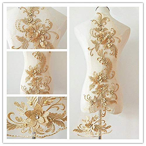 (3D beaded flower sequence lace applique motif sewing bridal wedding 3in1 20cmx72cm (Gold))