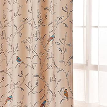 Amazon Com Pair Of Tree And Bird Pattern Curtains Each