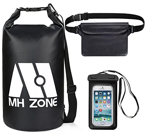 - M MH ZONE Waterproof Dry Bags Set of 3 By Freegrace, Detachable Shoulder Strap, Waist Pouch & Phone Case, Fit for Boating, Kayaking, Rafting and Swimming (Black, 5L)