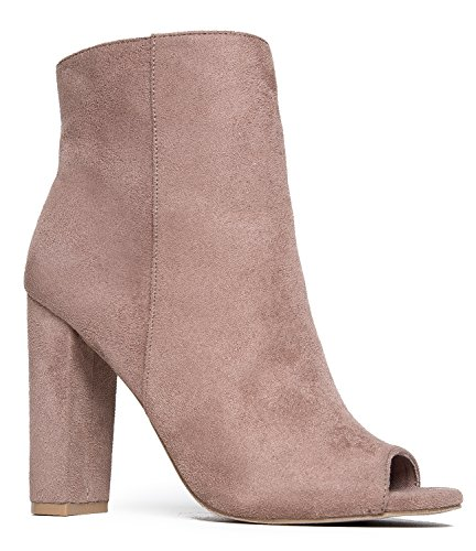 J. Adams Peep Toe Ankle Bootie – Classic Sleek High Heel Boot – Essential Zip Up Chunky Heel Shoe – (Taupe High Heel Peep Toe)