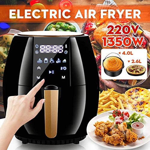 PLEASUR Elektrische luchtfriteuse, 4 l + 2,6 l, grote capaciteit, doe-het-zelf, Fried Food, multifunctionele luchtfriteuse