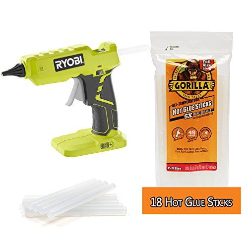 """RYOBI Glue Gun Cordless 18V One+ and 18x 4"""" Gorilla Glue Sticks"""