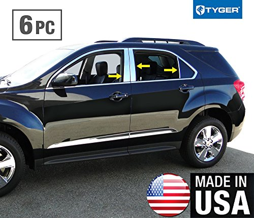 Made in USA! Works with 2010-2017 Chevrolet Equinox 6PC Stainless Steel Pillar Post Trim