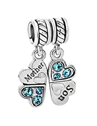 Sterling Silver Mother Son Love Heart Blue CZ Clover Family Dangle Bead F/ Pandora European Charm Bracelets