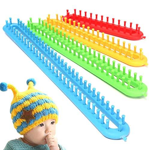 J&T Long Knitting Loom Hook ABS Plastic for Shawl Scarf Hat Socks Long Knitter Knitting (4 Size) (58cm+47cm+36cm+26cm)