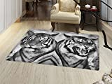 smallbeefly Safari Bath Mat for tub Cat Expression Opposite Images Fearsome Teeth Mirror Angry Intense Wildlife Door Mats for inside Bathroom Mat Non Slip Backing Pale Grey Black