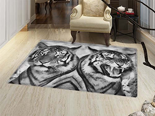 smallbeefly Safari Bath Mat for tub Cat Expression Opposite Images Fearsome Teeth Mirror Angry Intense Wildlife Door Mats for inside Bathroom Mat Non Slip Backing Pale Grey Black by smallbeefly