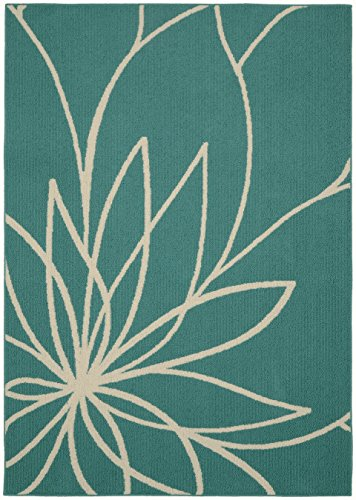 Garland Rug Grand Floral Area Rug, 5 x 7, Teal/Ivory