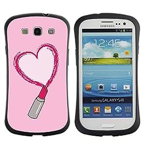 Fuerte Suave TPU GEL Caso Carcasa de Protección Funda para Samsung Galaxy S3 I9300 / Business Style lipstick red love heart pink kiss