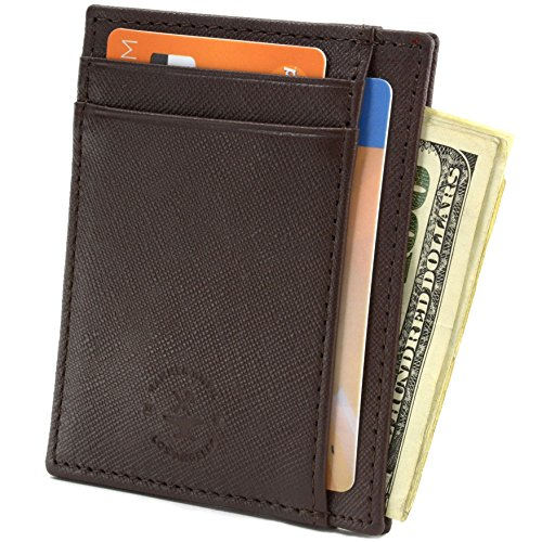 Hammer Anvil RFID Blocking Minimalist Genuine Leather Slim Front Pocket Wallet CH Brown