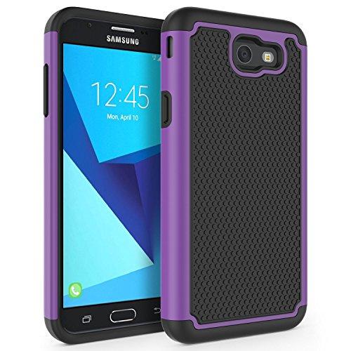Case for Samsung Galaxy J7 V 2017 (1st Gen)/ Galaxy J7 2017 / Galaxy J7 Prime/Galaxy J7 Perx/Galaxy J7 Sky Pro/Galaxy Halo, SYONER [Shockproof] Defender Phone Case Cover [Purple]