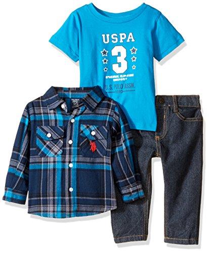 U.S. Polo Assn. Baby Boys 3 Piece Long Sleeve Fancy Sport, T-Shirt Or Creeper, and Denim Jean Set