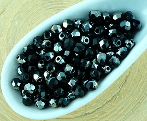 100pcs Opaque Jet Black Metallic Dark Chrome Silver Half Round Faceted Fire Polished Small Spacer Czech Glass Beads 3mm