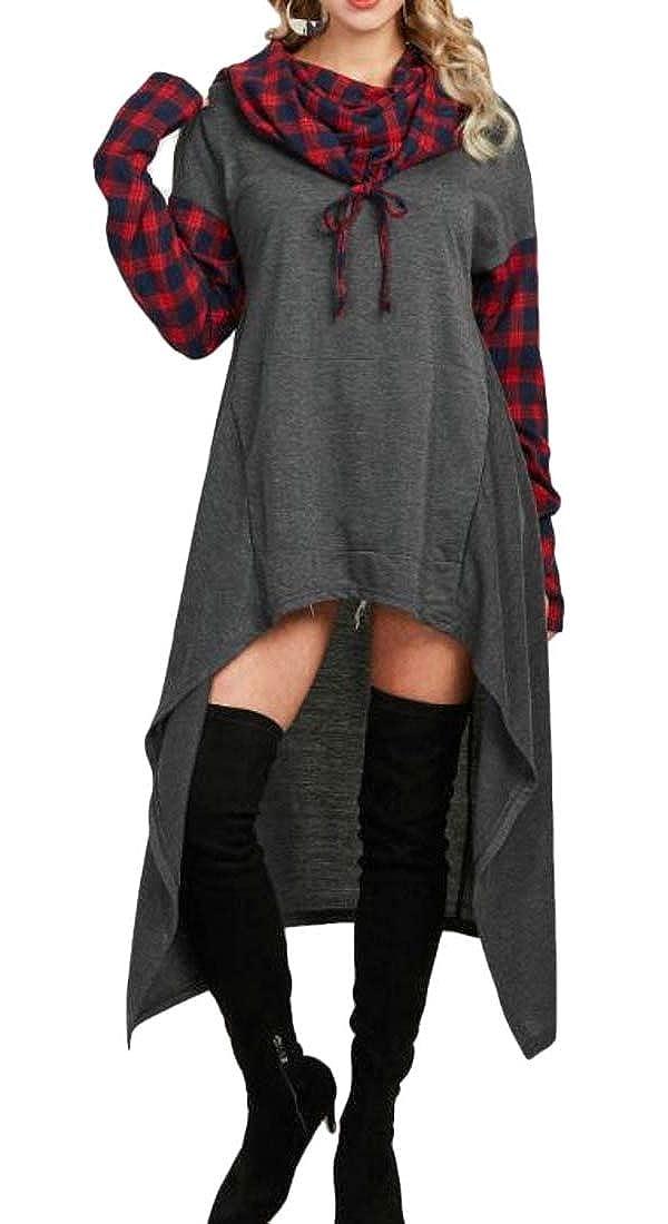 Lutratocro Womens Cape Irregular Drawstring Plaid Pullover Hooded Sweatshirts