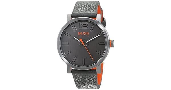 b7da87077 Hugo Boss Orange Bilbao Men's Dark Grey Leather Band Watch - 1550037:  Amazon.ae: RIVOLI_uae