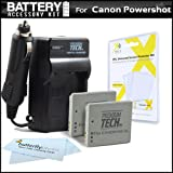 2 Pack Battery And Charger Kit For Canon PowerShot ELPH 330 HS, ELPH 300 HS ELPH 100 HS Digital Camera and Canon VIXIA Mini Camcorder Includes 2 Replacement Batteries For Canon NB-4L + Charger + More