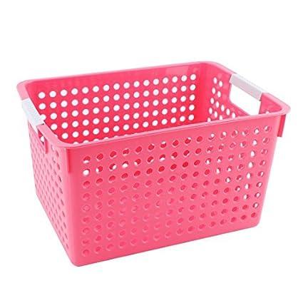 eDealMax plástico doméstico Aseo ahueca hacia fuera el diseño de ropa cesta del almacenaje Organizador Rojo