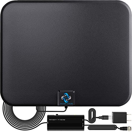U MUST HAVE Amplified HD Digital TV Antenna Long 180 Miles Range - Support 4K 1080p Fire television Stick and All Older TV's - Indoor Smart Switch Amplifier Signal Booster - 18ft Coax HDTV Cable/AC Adapter