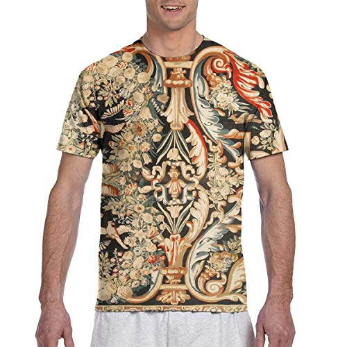 (Yunilya Antique French Gobelins Aubusson Tapestry T-Shirts Men's Casual Short Sleeve Graphic Tee Shirts Black)