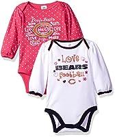 "Gerber Childrenswear ""Love Football"" 2Pk Long Sleeve Bodysuit, 0-3 Months, Gray"
