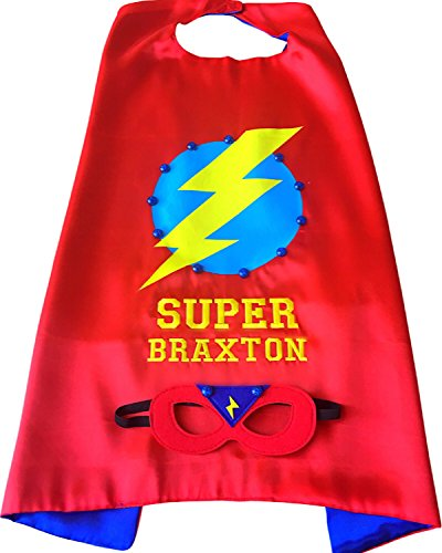 Thimbleful Threads Personalized Lightning Bolt Superhero Cape and Mask Set by (Red)