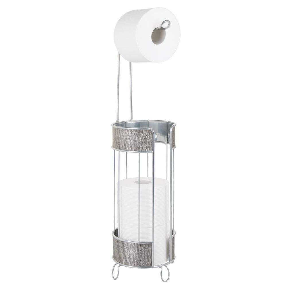 champ/án Elegante portarrollos para ba/ño con capacidad para 3 rollos de papel mDesign Portarrollos de pie Moderno soporte para papel higi/énico