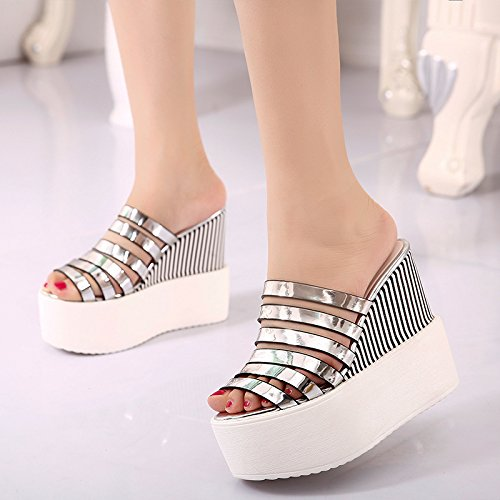six Belt Bottom KPHY Sandals With Slope Pu Hollow Thirty Increased Shoes Mouth Heel Thick Slope Mouth Fish Women'S Buckle Fish q7gw0HI7