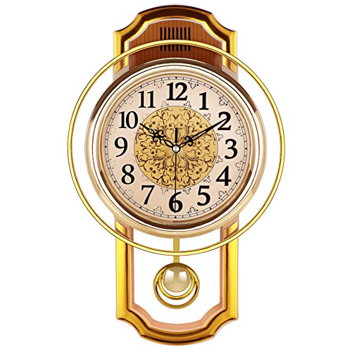(Retro Wall Swing Pendulum Clock, Living Room Vintage Silent Decorative Wall Clock Accurate No Ticking Sound Quartz Movement-Gold)