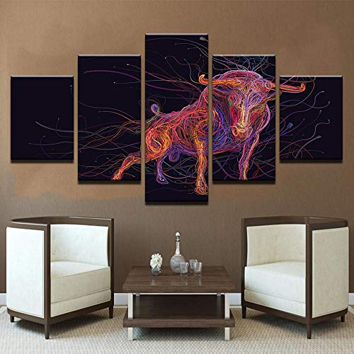 PEACOCK JEWELS [Large] Premium Quality Canvas Printed Wall Art Poster 5 Pieces / 5 Pannel Wall Decor Wired Bull Painting, Home Decor Pictures - Stretched