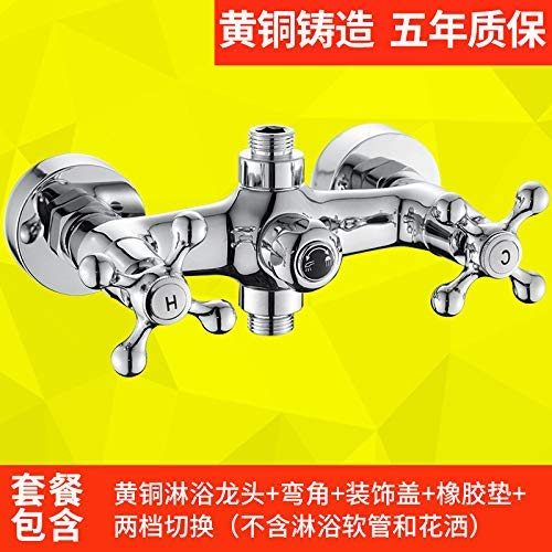 E SEBAS HOME Shower faucet double handle double control bathtub bathroom hot and cold water mixing valve faucet triple shower faucet, bathtub faucet 304 square shower set (color   L)