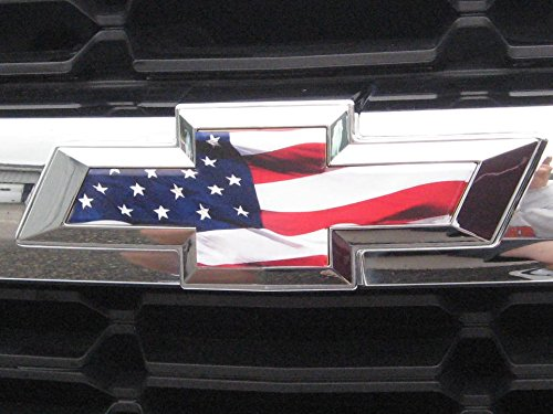 EmblemsPlus American Flag Chevy Silverado 1500 Truck Grille And Tailgate Bowtie Emblem Decal Overlay Vinyl Sheets CUT-YOUR-OWN Easy to Install 2 Sheets Fit 2014 Thru ()