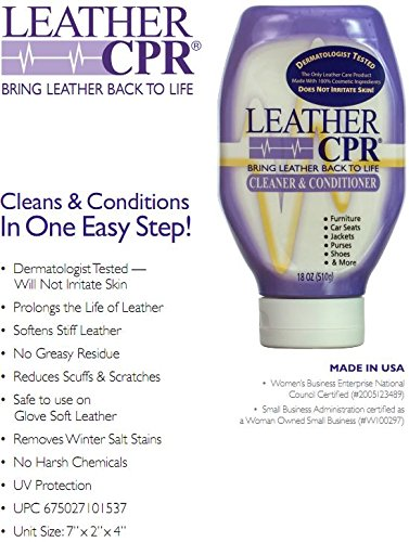 Leather CPR Cleaner & Conditioner, 18 oz-4 Pack, Bring Leather Back to Life! Best Leather Cleaner & Conditioner on the Market. Only Leather Cleaner & Conditioner that is Dermatologist Tested. USA Made by CPR Cleaning Products (Image #3)