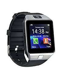 Bluetooth Smart Watch with Camera, Amazingforless DZ09 Smartwatch for Android Smartphones (Silver)