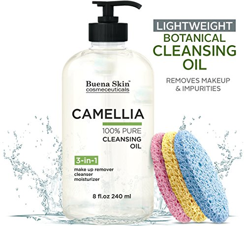 Camellia Botanical Deep Cleansing Oil by Buena Skin | Sponges Included - 100% Natural Eye Makeup Remover, Deep Cleanser, Moisturizing Body/Bath/Massage Oil | Lightweight, No Residue 8oz