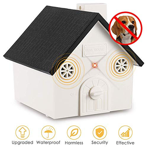 Humutan Anti Barking Device, Outdoor Anti Bark Deterrents with Adjustable Ultrasonic Level, Waterproof Ultrasonic Infrared Dog Barking Control for Small Medium Large Dogs
