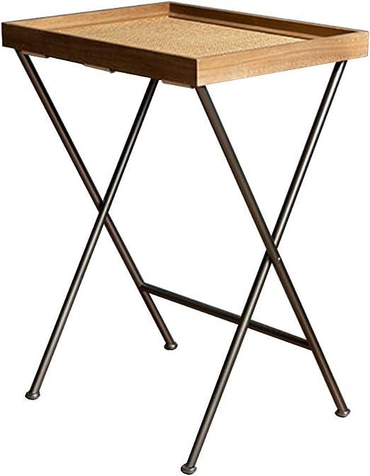mesa plegable Feifei Mesa Auxiliar de Hierro Forjado + Mesa ...