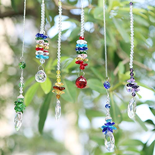 Apol Set of 6 Sparkly Chakra Hanging Crystal Ball Pendants Sun Catchers Teardrop Cone Shaped Multicolor for Ceiling Chandelier Car Window Decoration -