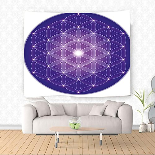 Nalahome lower of Life Art of Nature Design Sacred Geometric Miracle with Point Stars Archaic Art Purple and White Ethnic Decorative Tapestry Blanket Wall Art Design Handicrafts 59W x 51.1L Inches