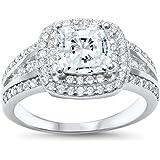 Oxford Diamond Co Princess Cut Double Halo Engagement Ring Sizes 5-10