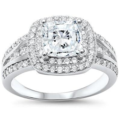 Oxford Diamond Co Princess Cut Double Halo Engagement Ring Sizes 5