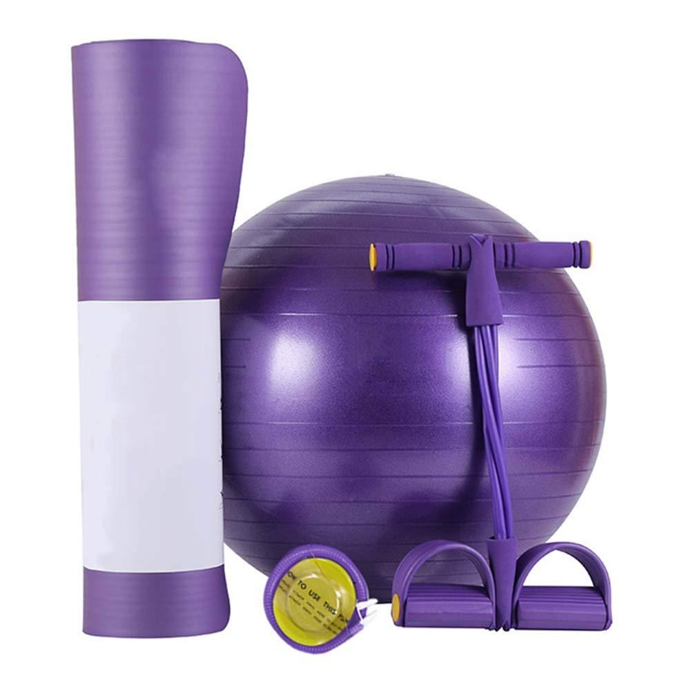 Qys Yogamatte Yoga-Ball Und 4-Litziger Abzieher Dreiteiliger Anzug Für Übung Fitness Turnhalle