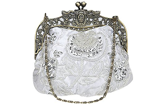 ILISHOP Women's Antique Beaded Party Clutch Vintage Rose Purse Evening Handbag (Silver)