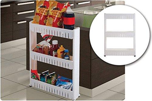 Slim Storage Cabinet Organizer Slide Out Cart Rack with W...