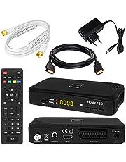 SATELLITEN ontvanger + 2,5 m SAT-kabel wit + HDMI-kabel: DVB-S/S2 set hoogwaardige SAT-ontvanger (HDTV HDMI SCART USB 2.0, coaxiale uitgang, Opticum AX150) incl. kabel met vergulde aansluitingen