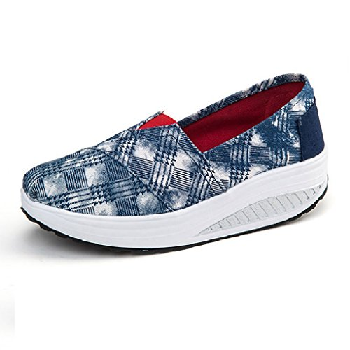 Cybling Casual Women Outdoor Athletic Exercise Tela Scarpe Da Passeggio Sportive Running Wedge Sneakers Style05