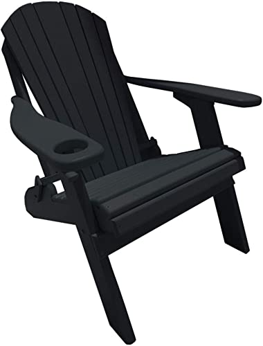 Deluxe Premium Poly Lumber Folding Adirondack Chair w Cup Holder Smart Phone Holder – Black Color