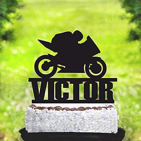 Decoración para tarta de bicicleta deportiva, cohete de entrepierna, decoración para tartas, motocross, decoración para pasteles, decoración para el primer nombre, fiesta de cumpleaños, bicicleta de camisa: Amazon.es: Hogar