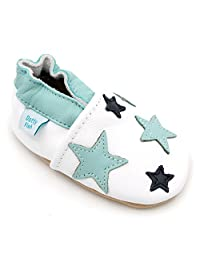 Dotty Fish Baby Boys Soft Leather Shoe with Suede Soles - White and Blue Twinkle Stars
